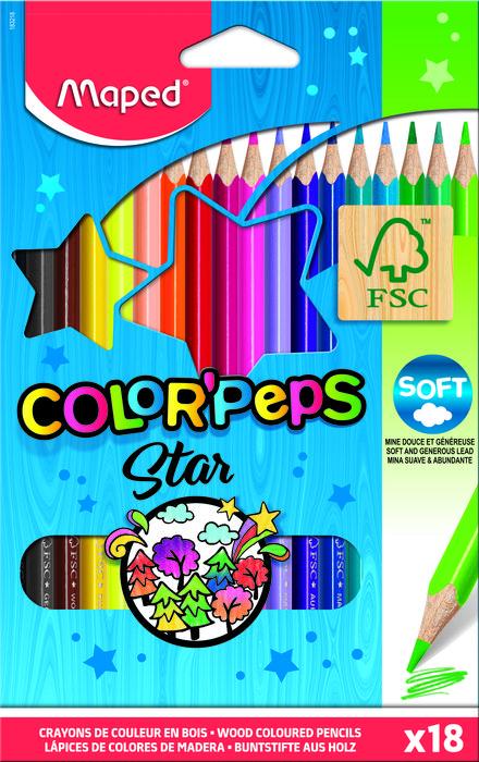Lapices colores maped est/18 caja carton