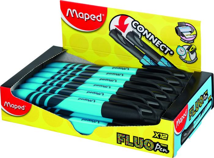 Marcador fluo fino azul caja