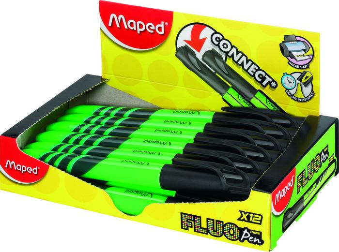 Marcador fluo fino verde caja