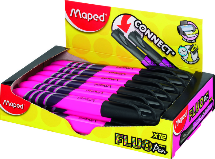 Marcador fluo fino rosa caja