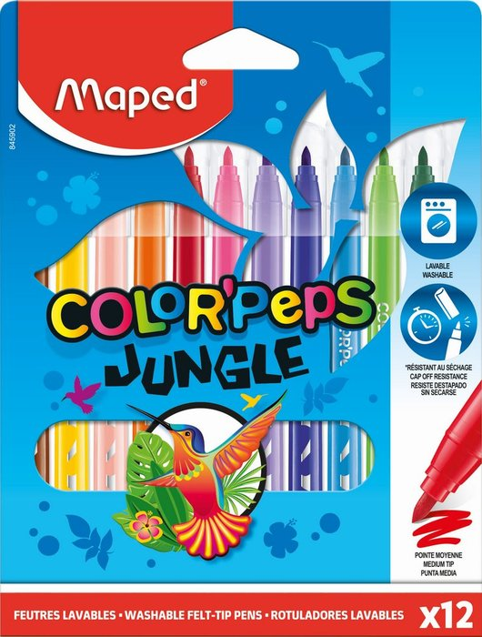 Rotulador maped jungle 12 colores surtidos estuche carton