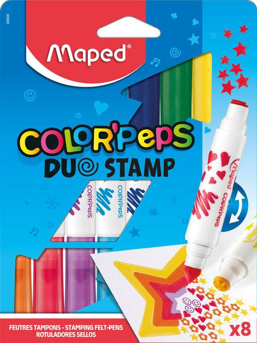 Rotuladores colorpeps duo stamp x8 estuche de carton