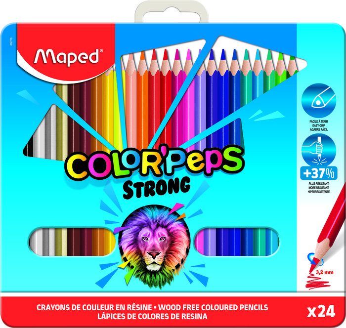 Lapiz maped color´peps strong metal box 24 colores surtidos