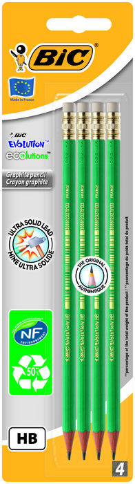 Lapiz grafito bic eco evolution 655 hb blister 4 ud 8902752