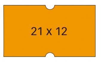 Etiqueta rollo 21x12 naranja removible pack 6 unid 1000 uni