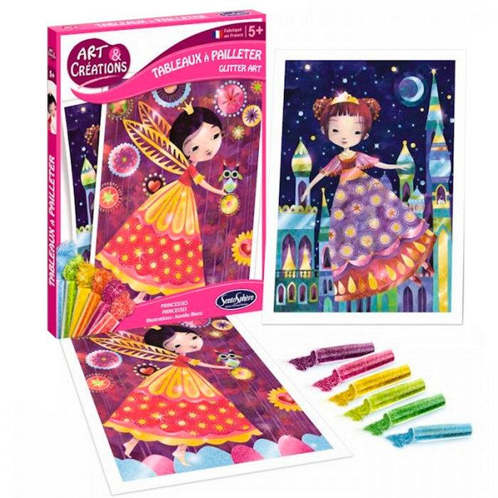 Juego sentosphere colorea con purpurina princesas