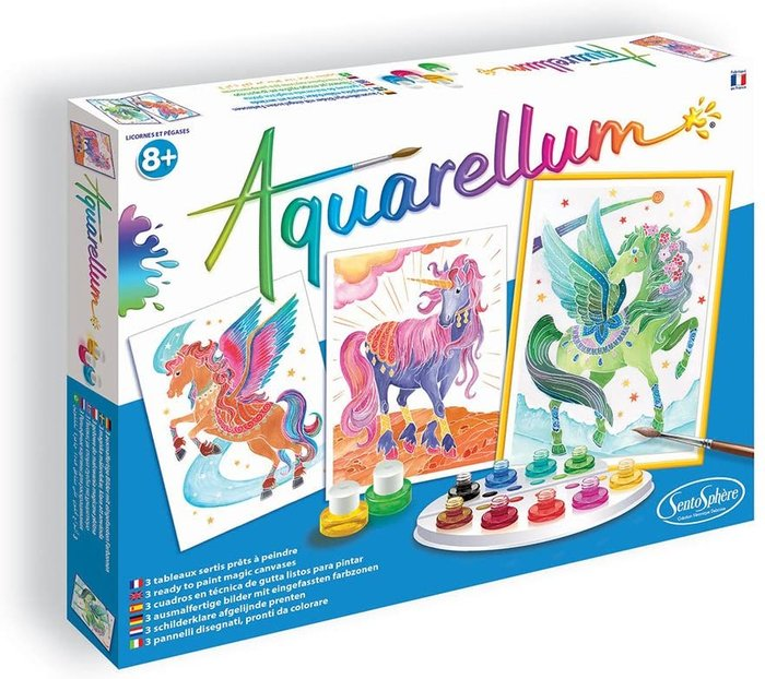 Juego aquarellum unicornios y pegasos