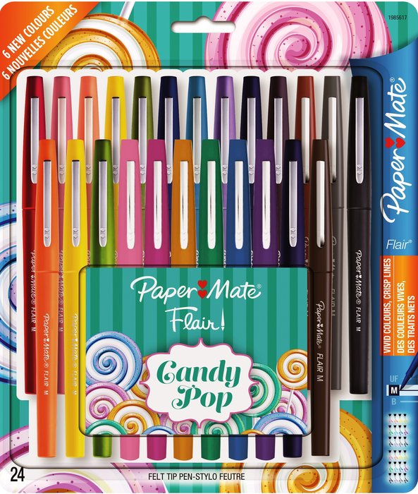 Boligrafo paper mate flair candy pop bolsa 24 colores surti