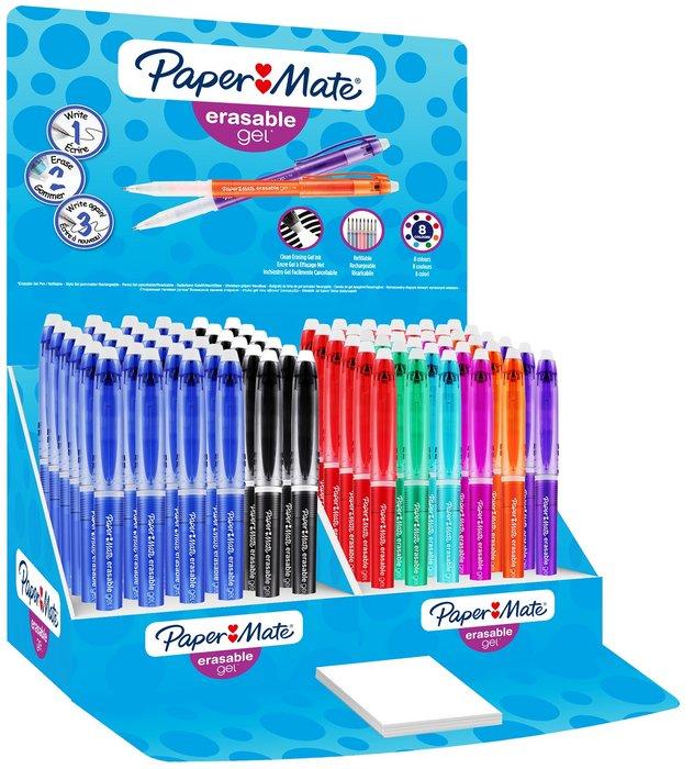Boligrafo paper mate gel borrable expositor 72 uds