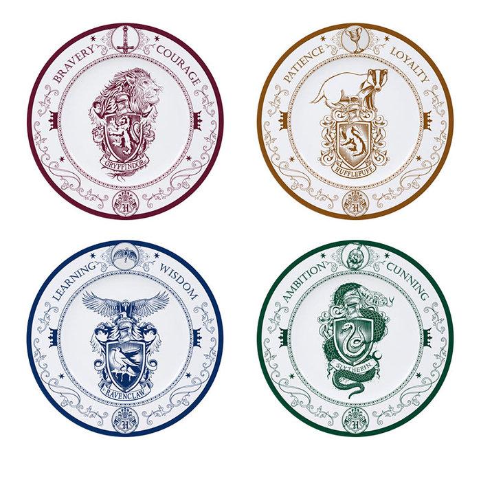 Set de 4 platos harry potter casas de hogwarts