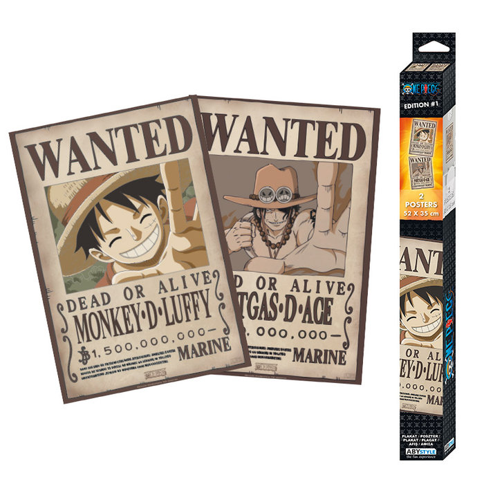 Set 2 posters one piece wanted luffy & ace 52x35