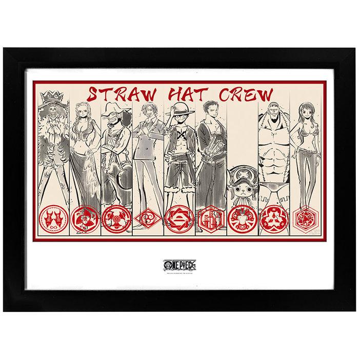 Poster enmarcado one piece piratas del sombrero de paja