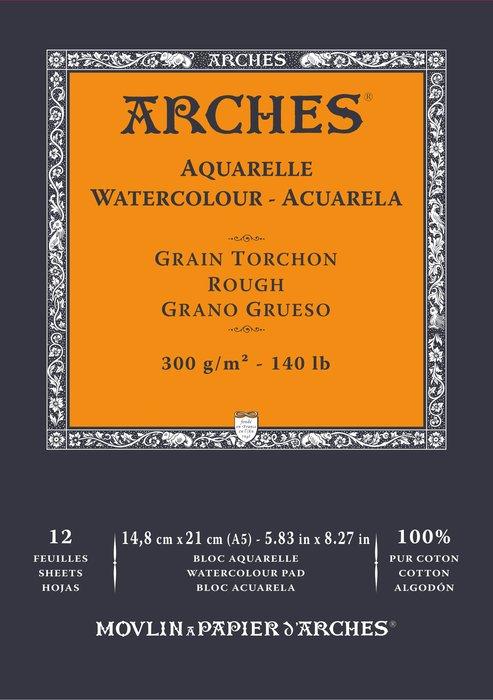 Bloc encolado 14,8x21 12h arches aquarelle 100% grueso 300g