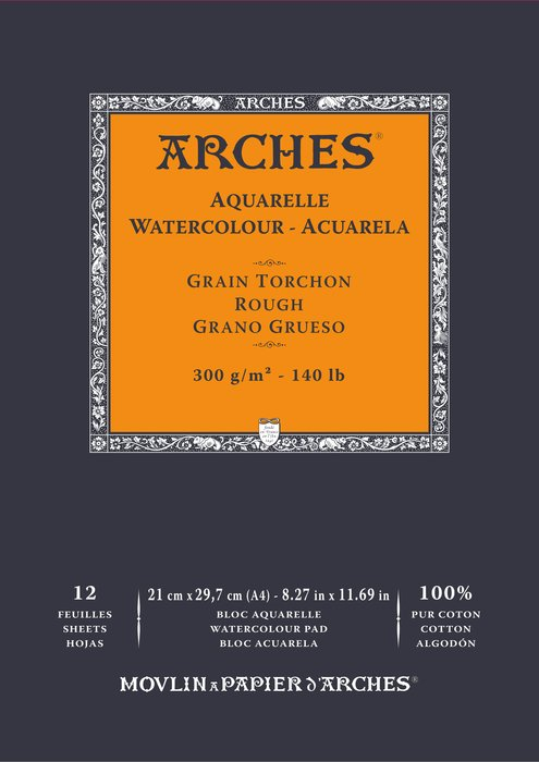 Bloc encolado 21x29,7 12h arches aquarelle 100% grueso 300g