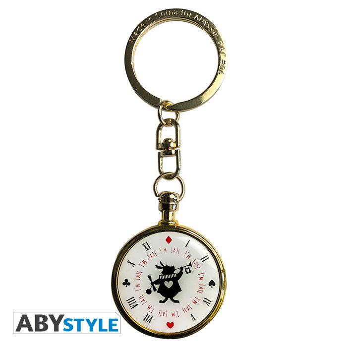 Llavero 3d disney reloj del conejo de alicia