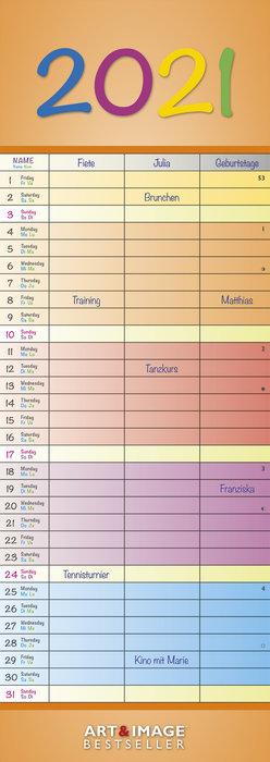 Calendario 2021 rainbow colours 14,85x42