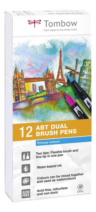 Rotulador tombow dual brush set 12 colores primarios