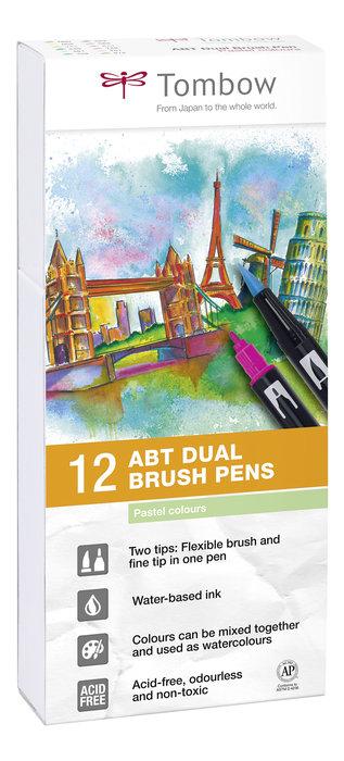 Rotulador tombow dual brush set 12 colores pastel