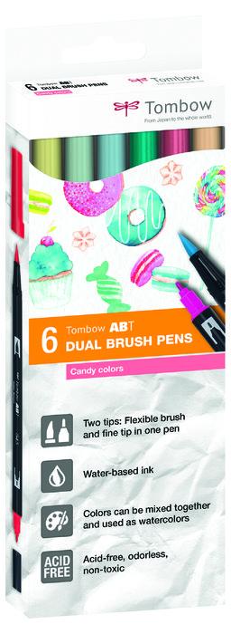 Rotulador tombow dual brush set 6 colores candy caja carton