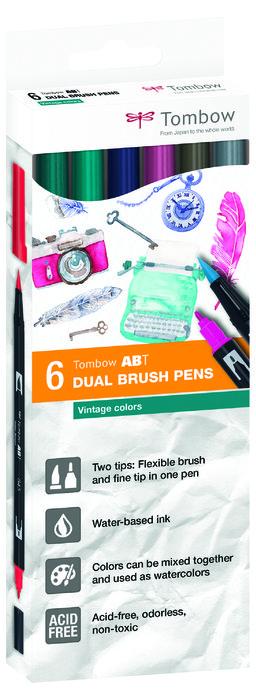 Rotulador tombow dual brush set 6 colores vintage caja carto