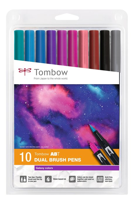 Rotulador tombow dual brush set 10 colores galaxy