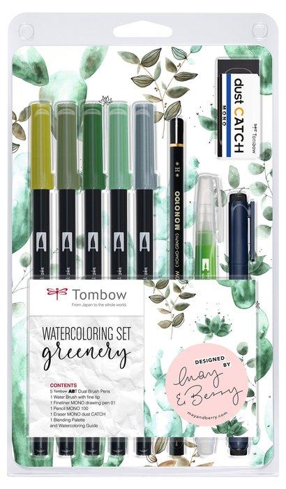 Set tombow acuarelable greenery