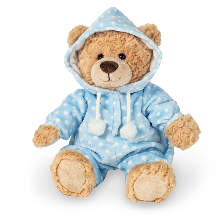 Peluche oso con pijama azul 30 cm