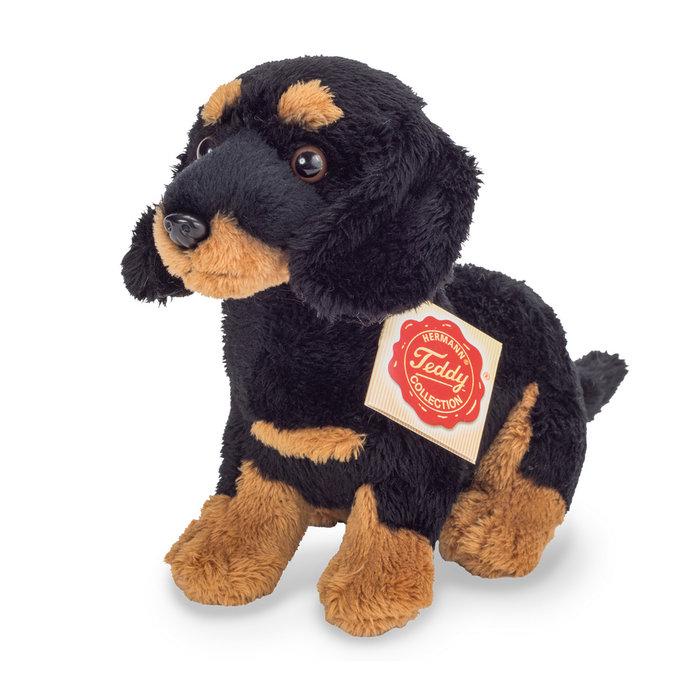 Peluche cachorro teckel marron y negro sentado 19 cm