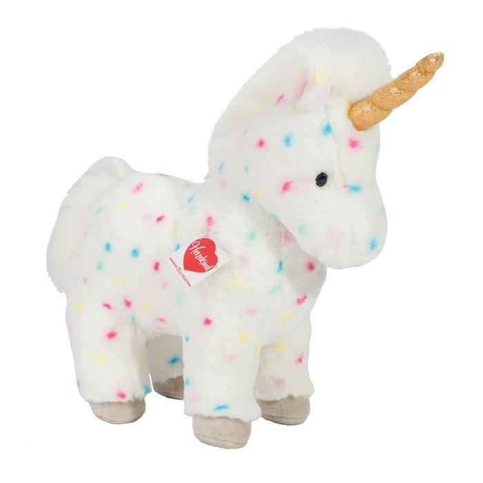 Peluche unicornio blanco topos colores de pie 30 cm