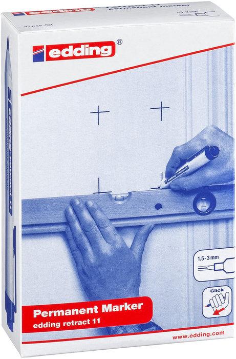 Marcador permanente edding 11 retractil azul