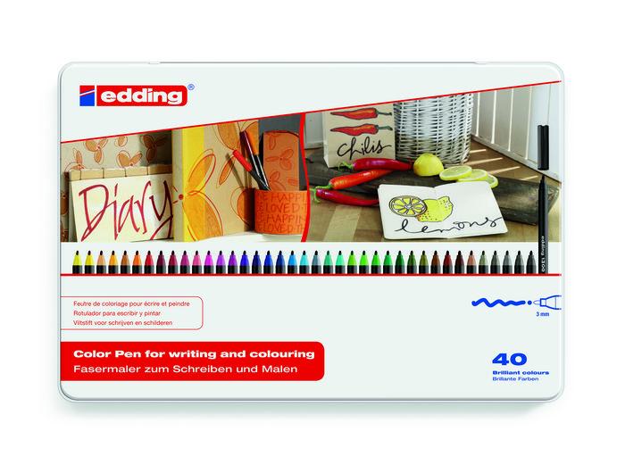 Rotulador edding 1300 40 colores surtidos estuche metal