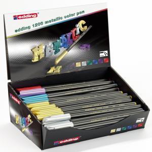 Expositor 50 rotuladores edding 1200 colores metalicos
