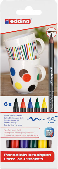 Rotuladores pincel edding 4200 estuche 6 colores basicos