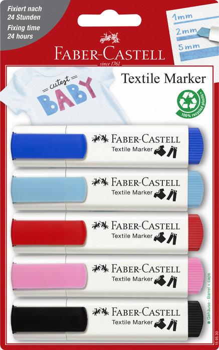 Marcadores faber textil blister 5 colores baby-party