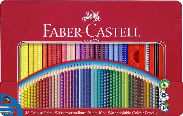 Lapiz faber grip 48 colores surtidos y accesorios estuche m