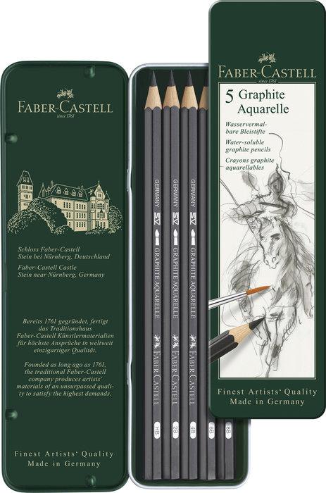Lapiz faber castell graphite aquarelle caja 5 graduaciones