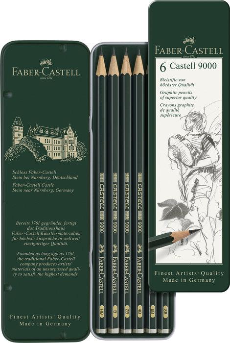 Lapiz fabel castell 9000 caja 6 graduaciones