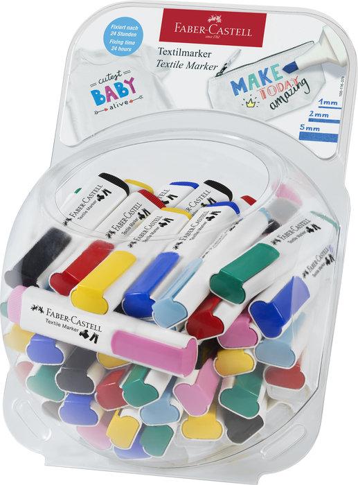 Marcadores faber textil colores surtidos bombonera