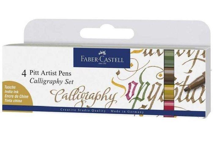 Set 4 rotuladores faber castel pitt caligrafia multicolor
