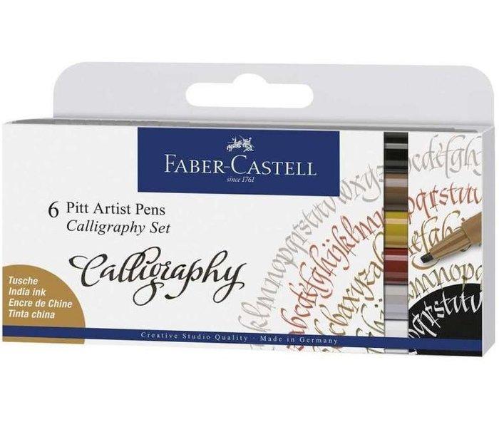 Set 6 rotuladores faber castel pitt caligrafia multicolor