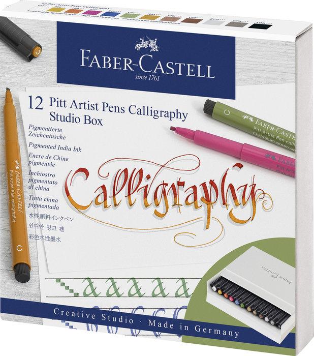 Rotulador faber pitt calligraphy 12 colores surtidos