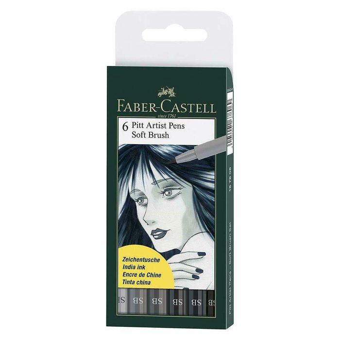 Set 6 rotuladores faber castel pitt soft brush tonos grises