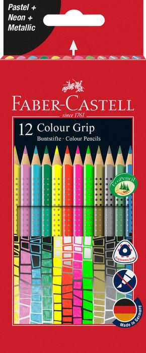 Lapiz grip 12 colores en tonos pastel neon y metalizados