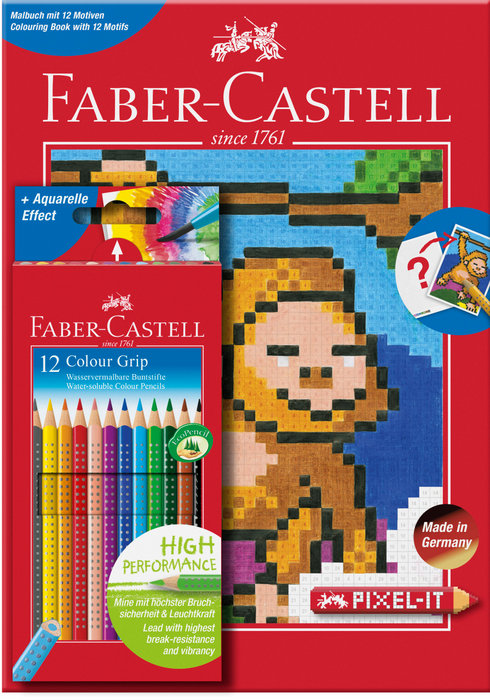 Lapiz faber castell grip 12 colores+cuaderno colorear pixel
