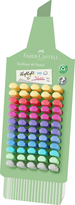 Marcador faber textliner 46 colores pastel surtidos exposito