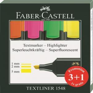 Rotulador fluor textliner faber 1548 3 mas 1 colores surtid