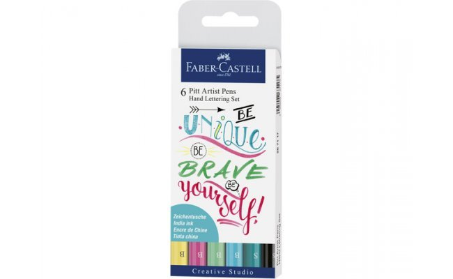 Set 6 rotuladores pincel faber castell pitt hand lettering