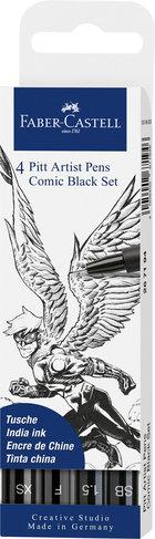 Set 4 rotuladores faber castel artist pens comic negro