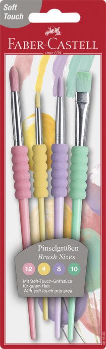 Pinceles faber castell colores pastel blister 4 uds
