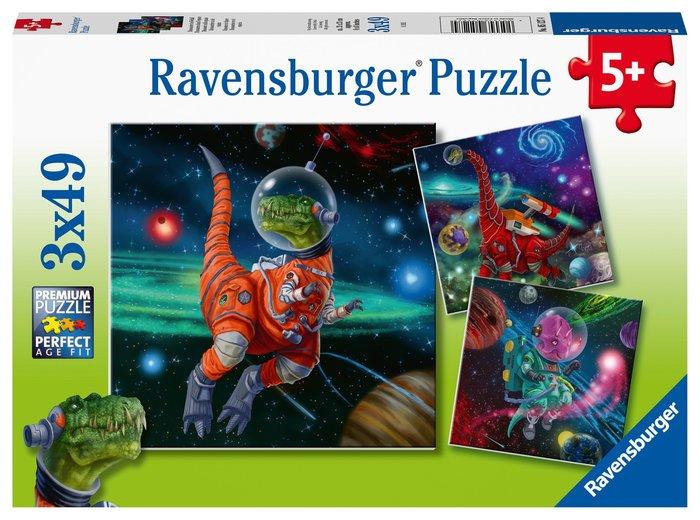 Puzzle dinosaurios en el espacio 3 puzzles 49 pz